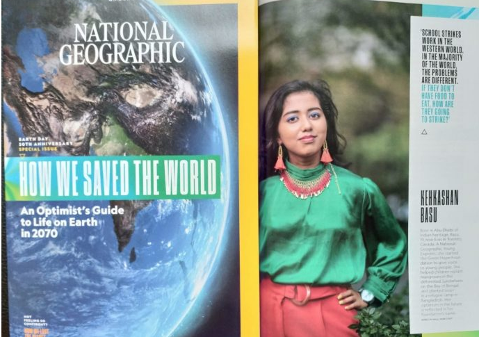 Student Kehkashan Basu featured in National Geographic